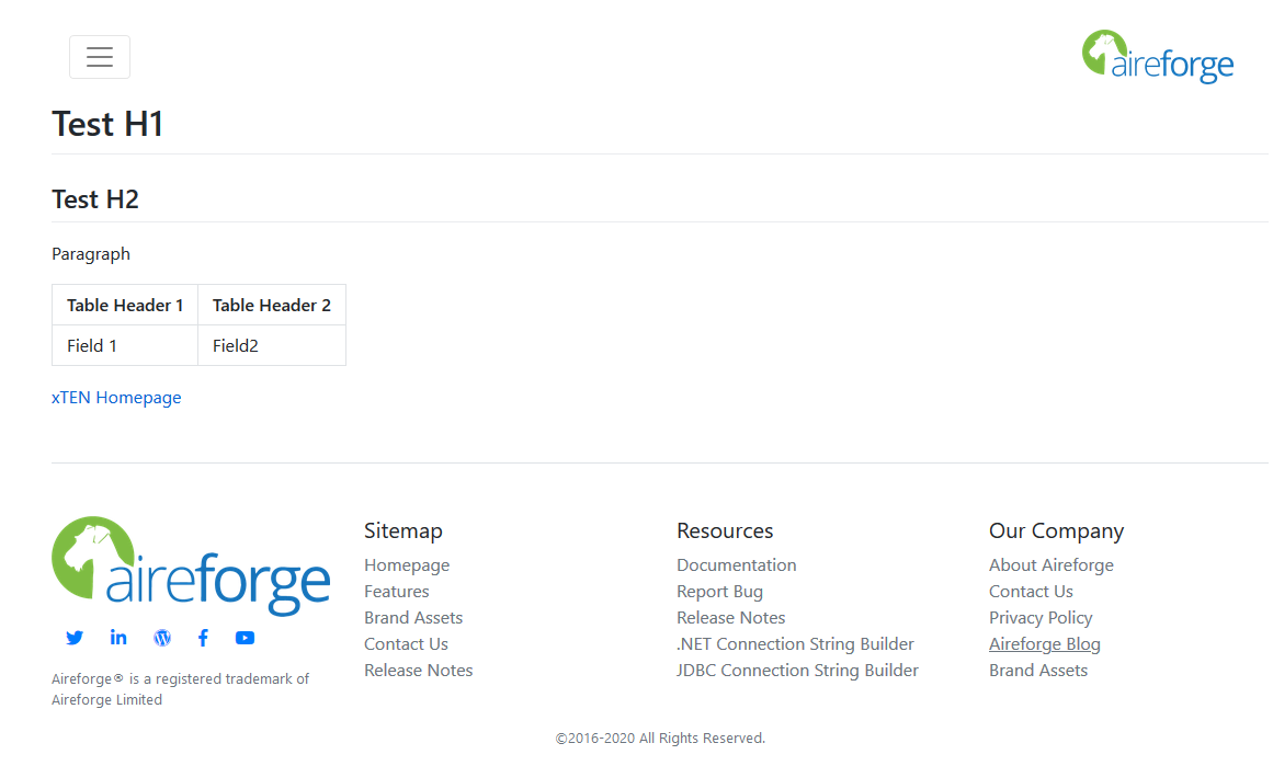 example HTML page for Aireforge Leeds rendered from markdown